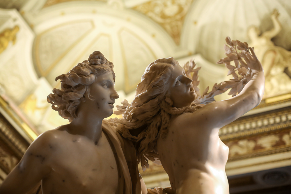 ROME, ITALY - JUNE 14, 2015: Apollo and Daphne Carrara's marble sculpture  by Gian Lorenzo Bernini  in Galleria Borghese, Rome, Italy